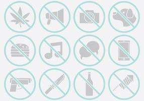 Ícones de proibição cinzenta vetor