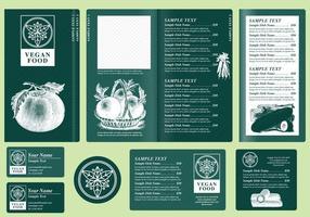 Modelos de menu vegetariano vetor