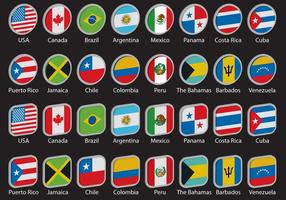 Bandeiras 3d americas vetor