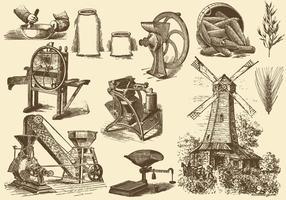 Ilustrações de grão e moinho vetor