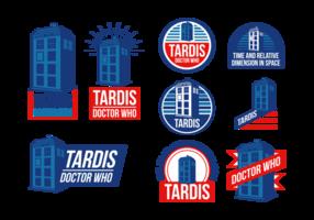 Pele da polícia Tardis Vector Labels