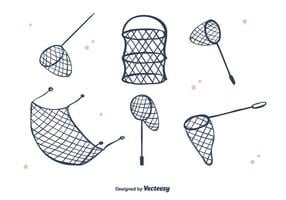 Vector de rede de peixe desenhada à mão