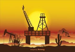 Ilustração do vetor do campo petrolífero