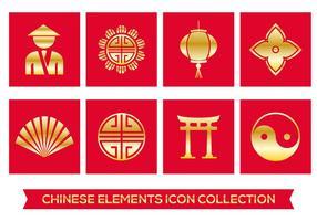 Ícones Elementos chineses vetor