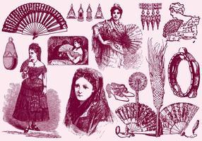 Mulheres e acessórios espanhóis vetor