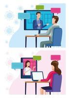 conjunto de cenas de empresários em reunião de reunião