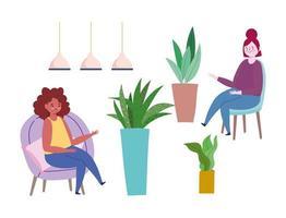 mulheres sentadas em cadeiras com conjunto de ícones de plantas em vasos vetor