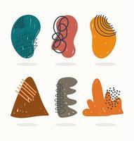 formas abstratas contemporâneas e coleção de ícones de rabiscos vetor