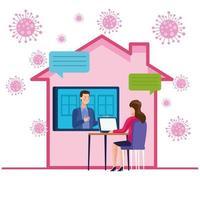 casal de negócios em reunião online vetor