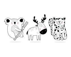 estilo de desenho de pequenos animais selvagens variados vetor
