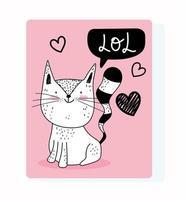 cartão de felicitações estilo desenho em preto e branco de gato fofo vetor