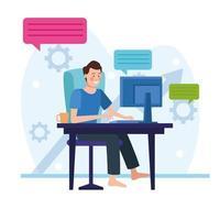 empresário em uma reunião online vetor