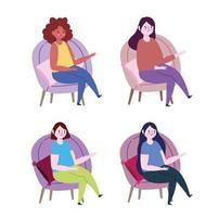 mulheres sentadas em cadeiras com conjunto de ícones de almofadas vetor