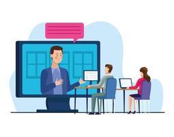 grupo empresarial de pessoas em reunião online