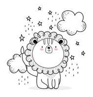 pequeno leão com nuvens estilo esboço