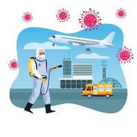 trabalhador de biossegurança desinfeta aeroporto para covid 19 vetor