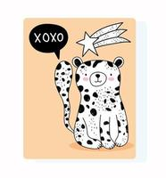 cartão de felicitações de leopardo selvagem fofo vetor