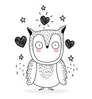 pequena coruja com corações de amor estilo esboço vetor