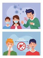 pessoas doentes usando máscaras com covid 19 vetor