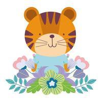 tigre fofo com flores e folhagens vetor