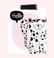 pequeno leopardo com mensagem de saudação vetor