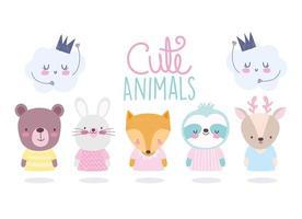 conjunto de personagens de animais fofos com ícones de nuvem