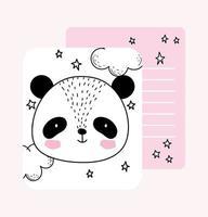 modelo de cartão de desenho de carinha de panda