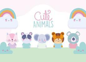 personagens de animais fofos com modelo de cartão de arco-íris vetor