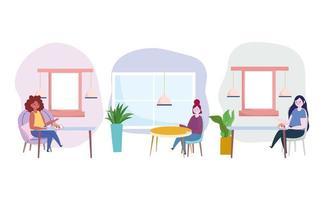 conjunto de ícones de mulheres comendo comida sozinhas vetor