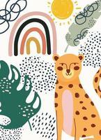desenho à mão contemporâneo de leopardo com folhas vetor