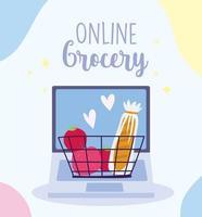 compras de supermercado online através de modelo de banner de laptop vetor