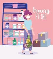 mulher com uma máscara facial e um saco ecológico no supermercado vetor