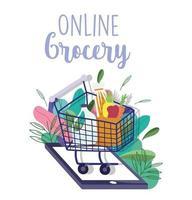 supermercado online de um carrinho de compras com um smartphone e folhagem vetor