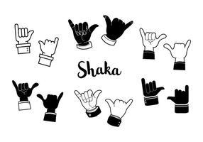 Vector Shaka preto e branco livre
