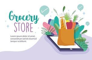 modelo de banner online de mercearia com elementos de telefone, mantimentos e folhagem vetor