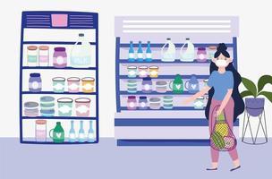 mulher com uma sacola ecológica em loja de alimentos vetor