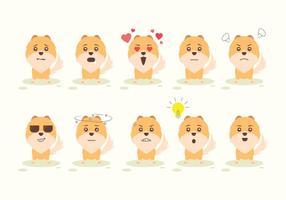 Desenho Animado de Cartoon Pomeranian Emoticon vetor