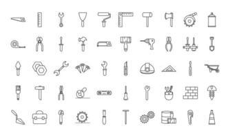 coleção de ícones de construção e reparo de ferramentas vetor