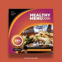 banner de comida de restaurante cheio de curvas coloridas para redes sociais