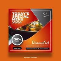 banner de comida de restaurante de duas cores para postagem em mídia social