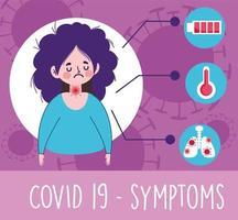 menina com dor de garganta, febre e sintomas virais vetor