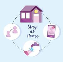 ficar em casa infográfico preventivo vetor