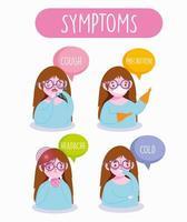 jovem em infográfico de sintomas de coronavírus
