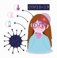 covid-19 e infográfico de sintomas de coronavírus vetor