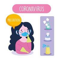 garota usando máscara facial e luvas no infográfico preventivo de coronavírus vetor
