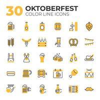 conjunto de ícones relacionados à oktoberfest vetor