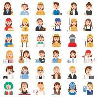 profissão feminina e conjunto de ícones relacionados ao trabalho vetor