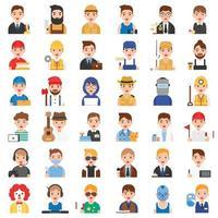 profissão e conjunto de ícones relacionados ao trabalho vetor