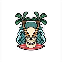 tatuagem de caveira tropical surfando vetor