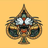 tatuagem de cara de tigre com moldura de espada vetor